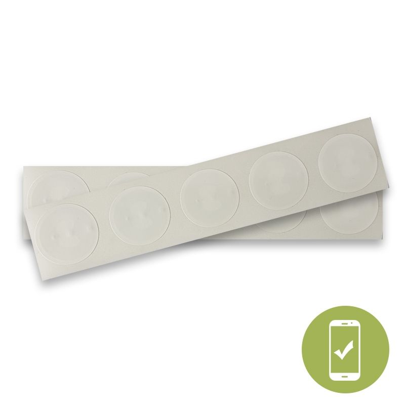 22MM ROUND NFC STICKER WITH WHITE PVC FRONT - NTAG213